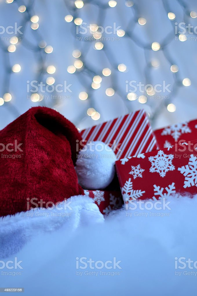 Santa Hat with Christmas Presents stock photo