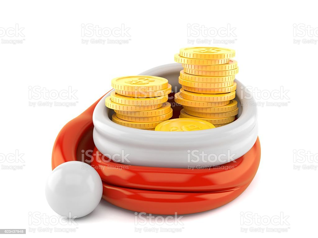 c9592a1f1669e Santa Hat With Coins Stock Photo   More Pictures of Christmas