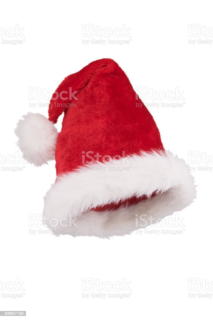 Santa hat with folded tip 3/4 view isolated on white stock photo