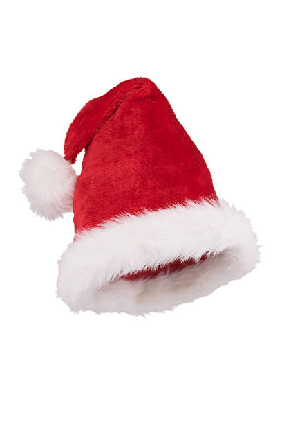 Santa hat with folded tip 3/4 view isolated on white Santa hat with folded tip 3/4 view isolated on white background bonnet stock pictures, royalty-free photos & images