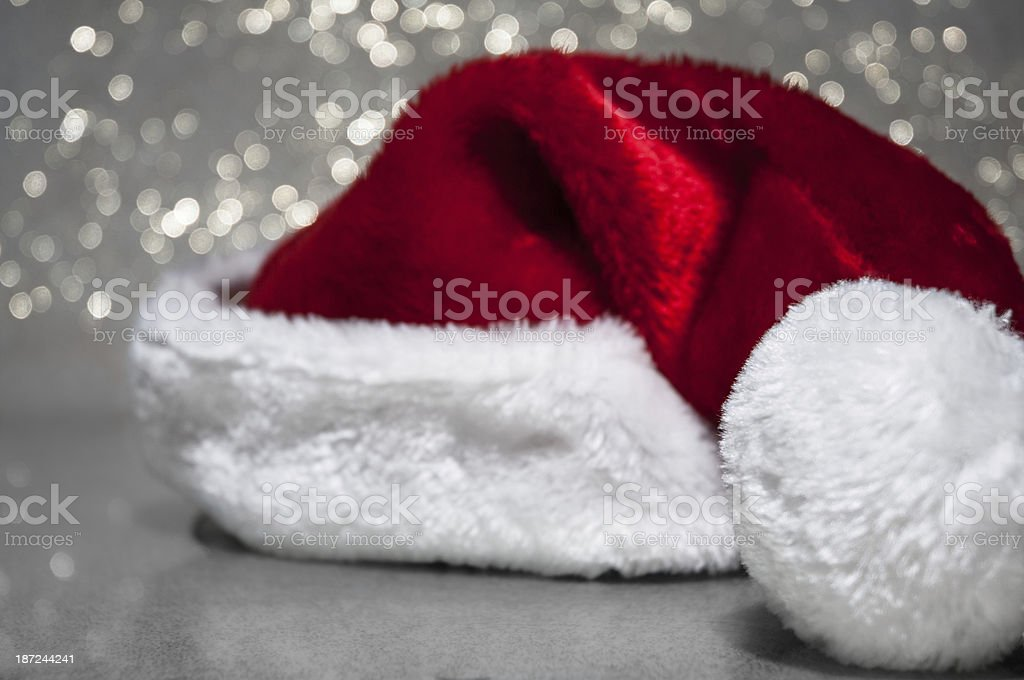 Santa hat with sparkle background royalty-free stock photo