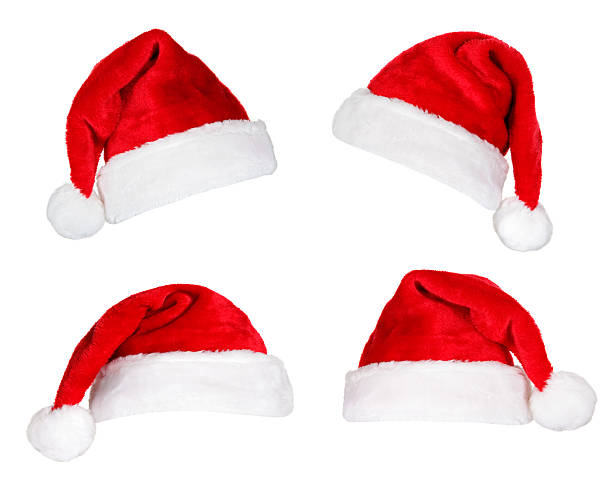 santa hats on white - santa hat stock pictures, royalty-free photos & images