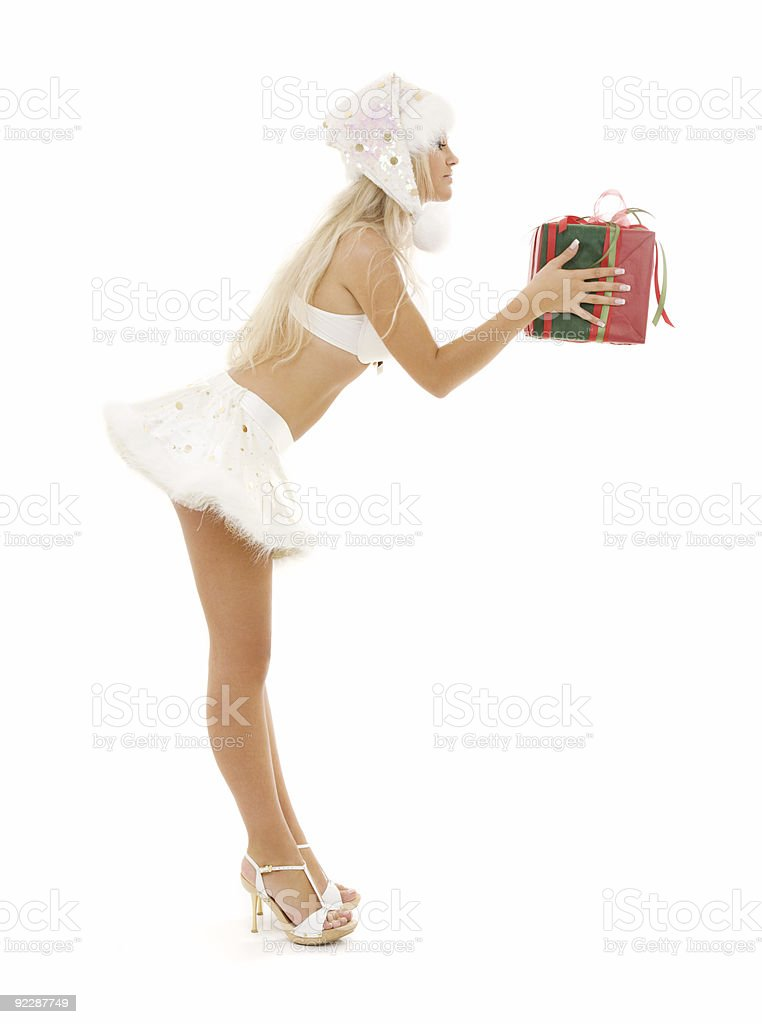 santa helper girl with gift box royalty-free stock photo