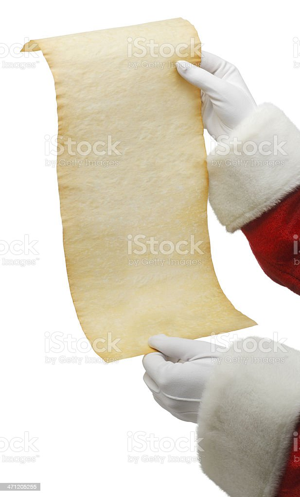 Santa Holding A List stock photo