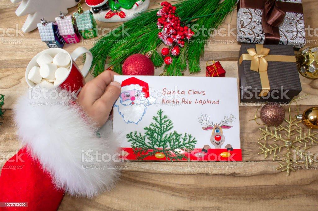 A letter for the Santa handmade envelope pine branches gift boxes mug...