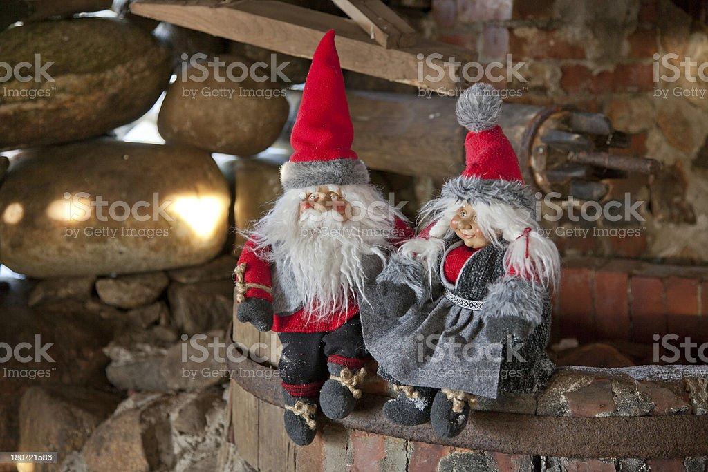 Santa in the barn royalty-free stock photo