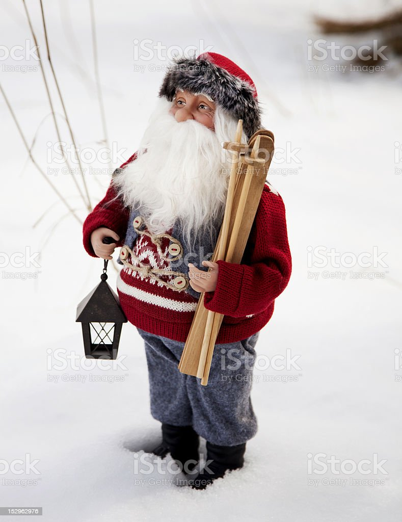 Santa in the snow royalty-free stock photo