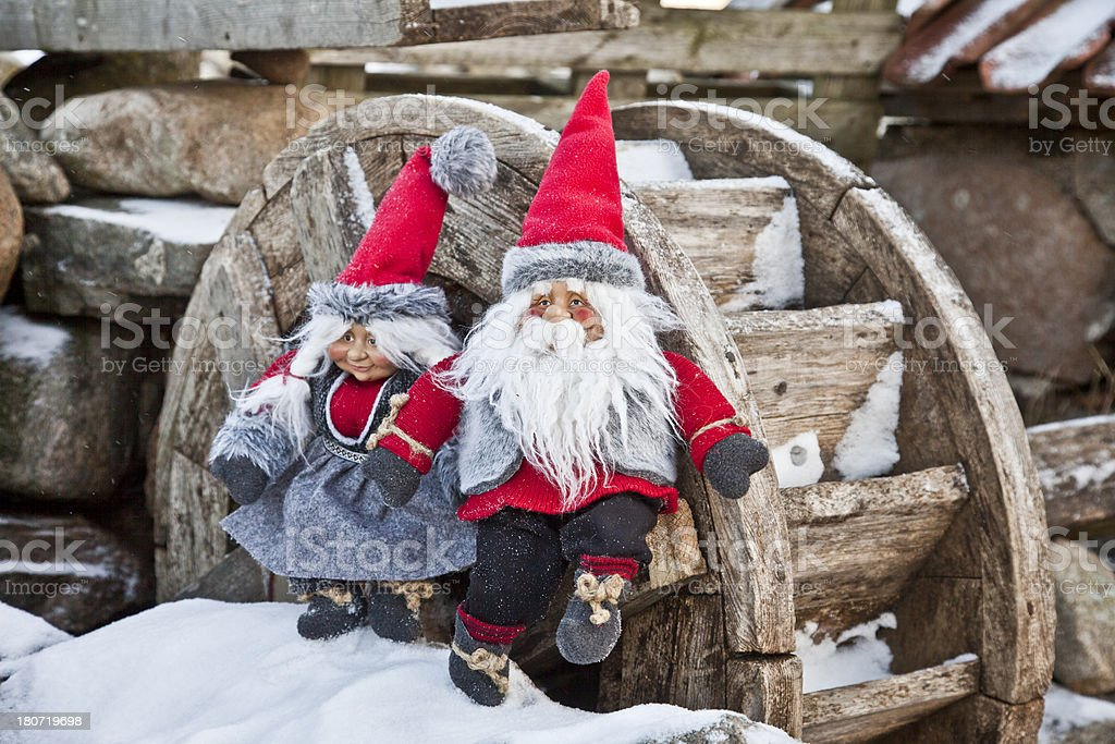 Santa in the snow royalty-free stock photo