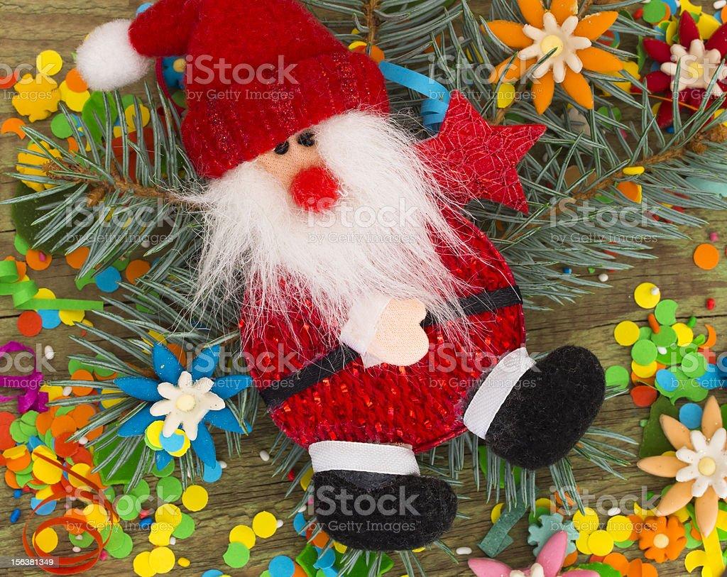 Santa in the Xmas arrangment royalty-free stock photo