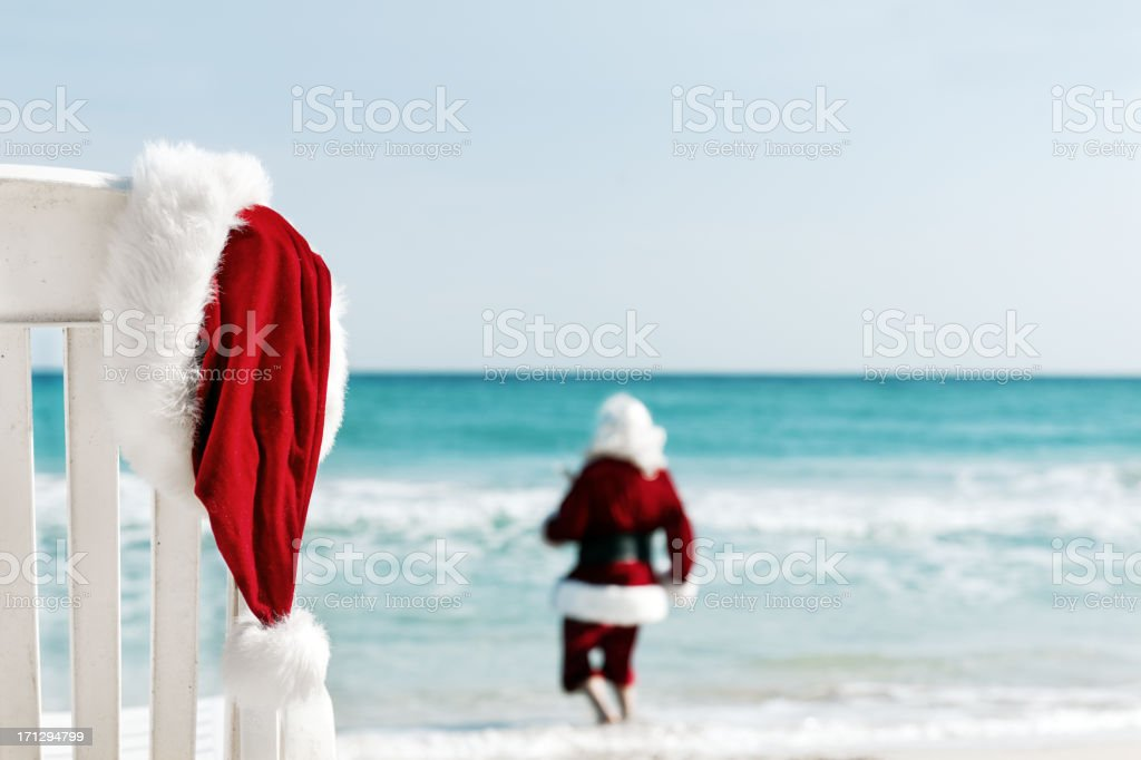 Santa in vacations stock photo