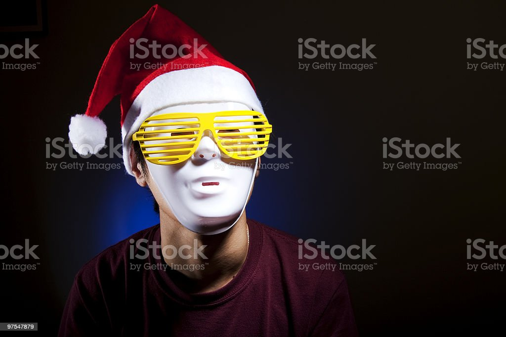 Santa in yellow glasses royalty-free stock photo
