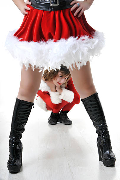 santa ist hier - elfenkostüm damen stock-fotos und bilder