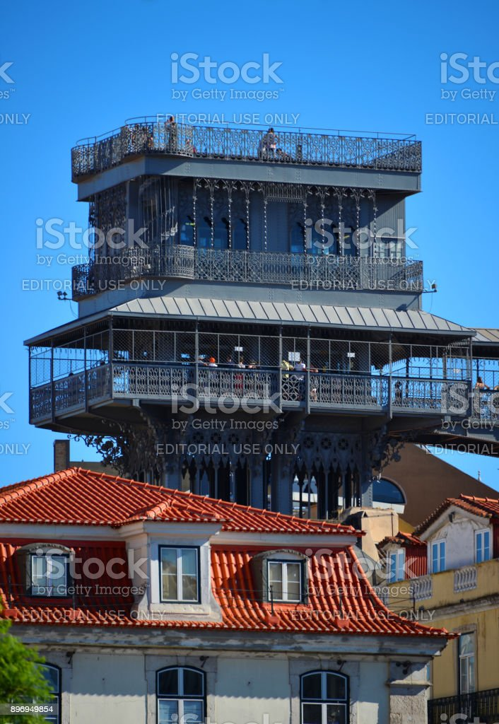 Santa Justa Elevator and buildings of the Chiado area, Lisbon, Portugal stock photo