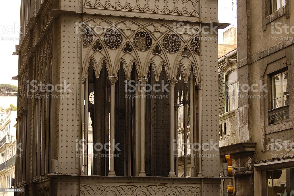 santa justa elevator in lisbon stock photo