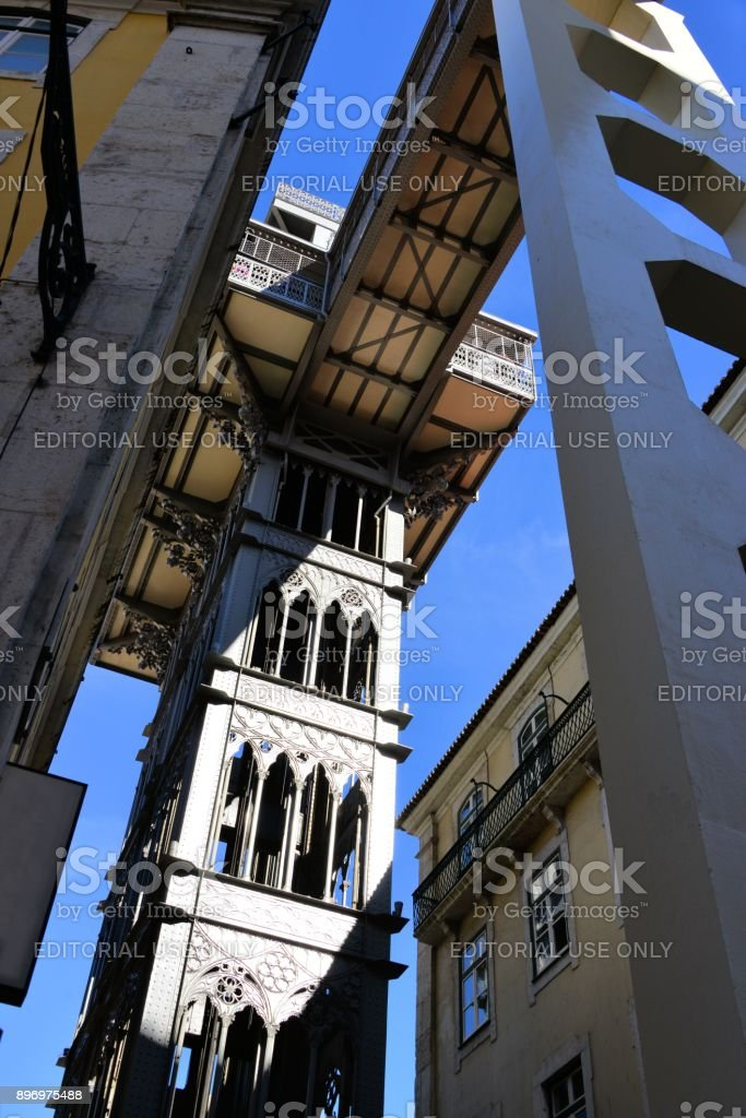 Santa Justa Elevator, Lisbon, Portugal stock photo
