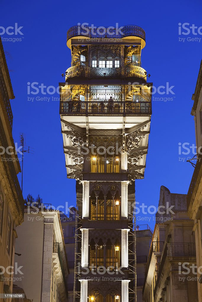 Santa Justa Lift in Lisboa at night, Portugal royalty-free stock photo