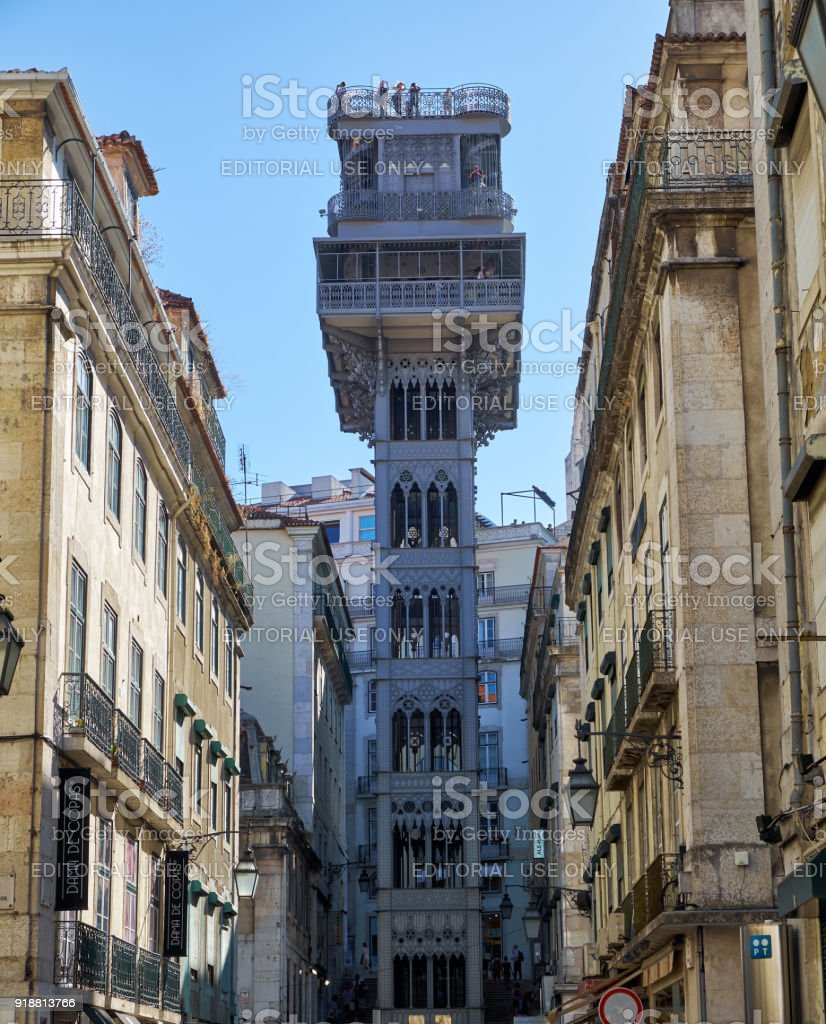 Santa Justa Lift (Carmo Lift ). Lisbon. Portugal stock photo