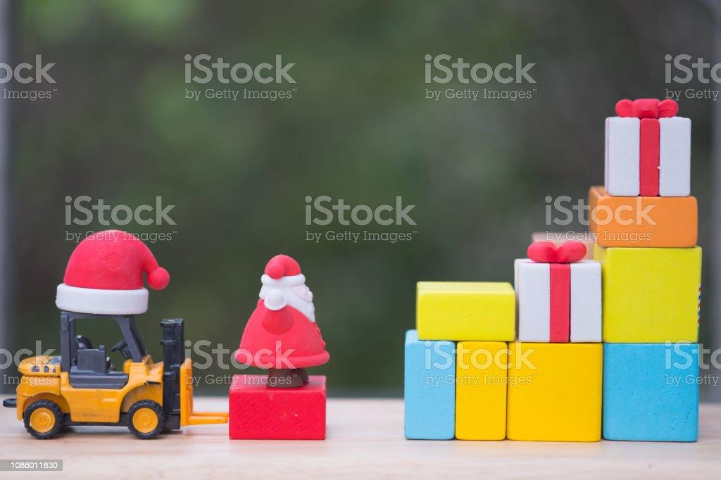 Santa loading gift box ready sent to children in Christmas, happy...