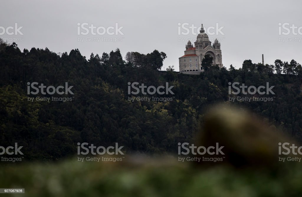 Santa Luzia Basilica on the mount in Viana do Castelo city, Portugal. stock photo
