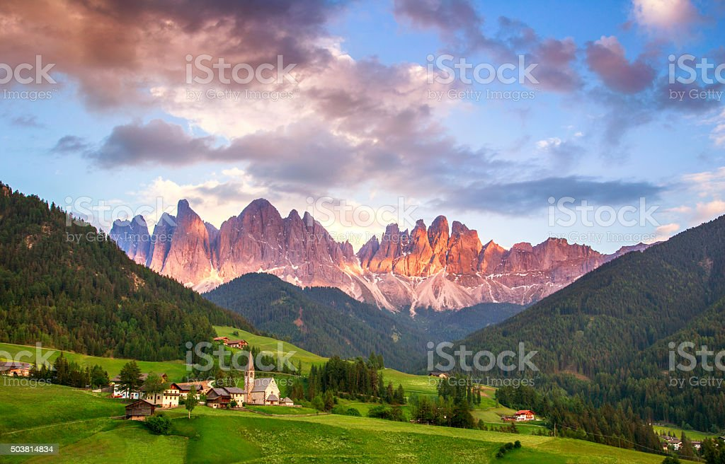 Santa Maddalena, Dolomites, Italy stock photo