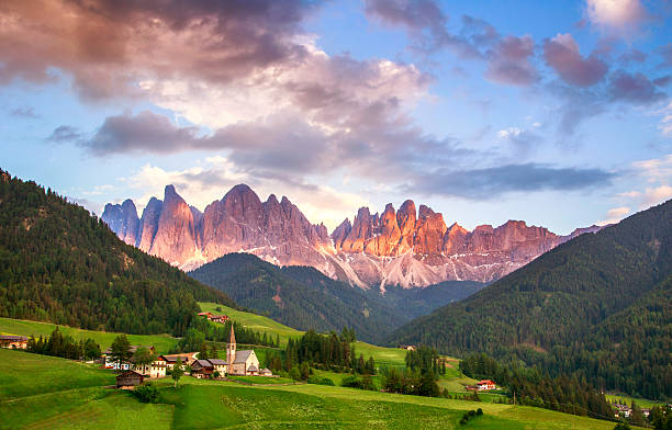Santa Maddalena, Dolomites, Italy Santa Maddalena village in front of the Geisler or Odle Dolomites Group, Val di Funes, Val di Funes, Trentino Alto Adige, Italy, Europe. trentino alto adige stock pictures, royalty-free photos & images