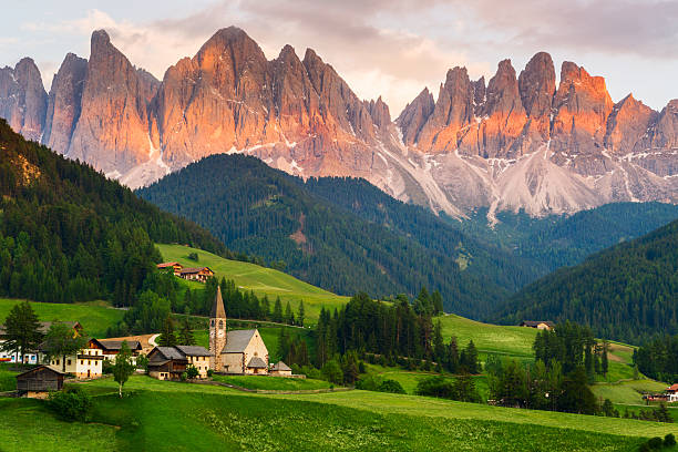 Santa Maddalena village, Italy Santa Maddalena village in front of the Geisler or Odle Dolomites Group, Val di Funes, Val di Funes, Trentino Alto Adige, Italy, Europe. dolomites stock pictures, royalty-free photos & images