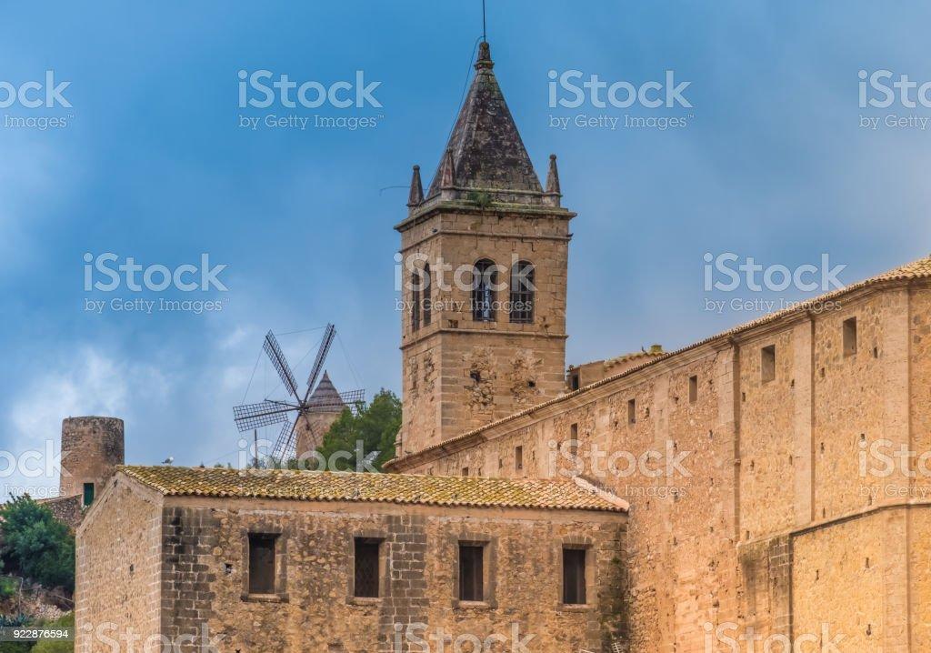 Santa Maria church in the ancient town of Andratx, on the southwest corner of Majorca (Mallorca), Balearic Islands, Spain stock photo