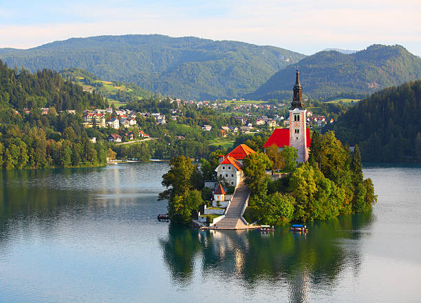 Santa Maria Church on Bled lake stock photo