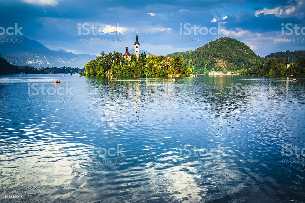 Santa Maria Church on the Lake Bled, Blejsko jezero, Slovenia stock photo