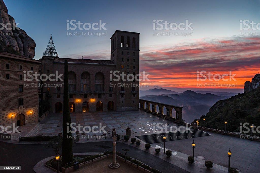 Santa Maria de Montserrat Abbey at sunrise, Bacelona - Spain stock photo