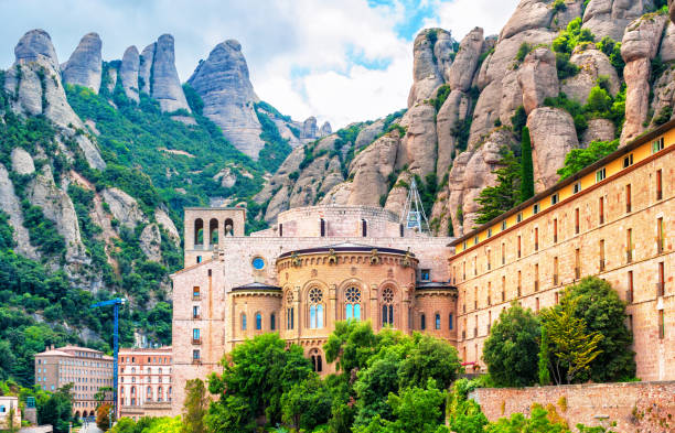 Santa Maria de Montserrat abbey, Catalonia Spain Santa Maria de Montserrat abbey, Catalonia Spain abbey monastery stock pictures, royalty-free photos & images