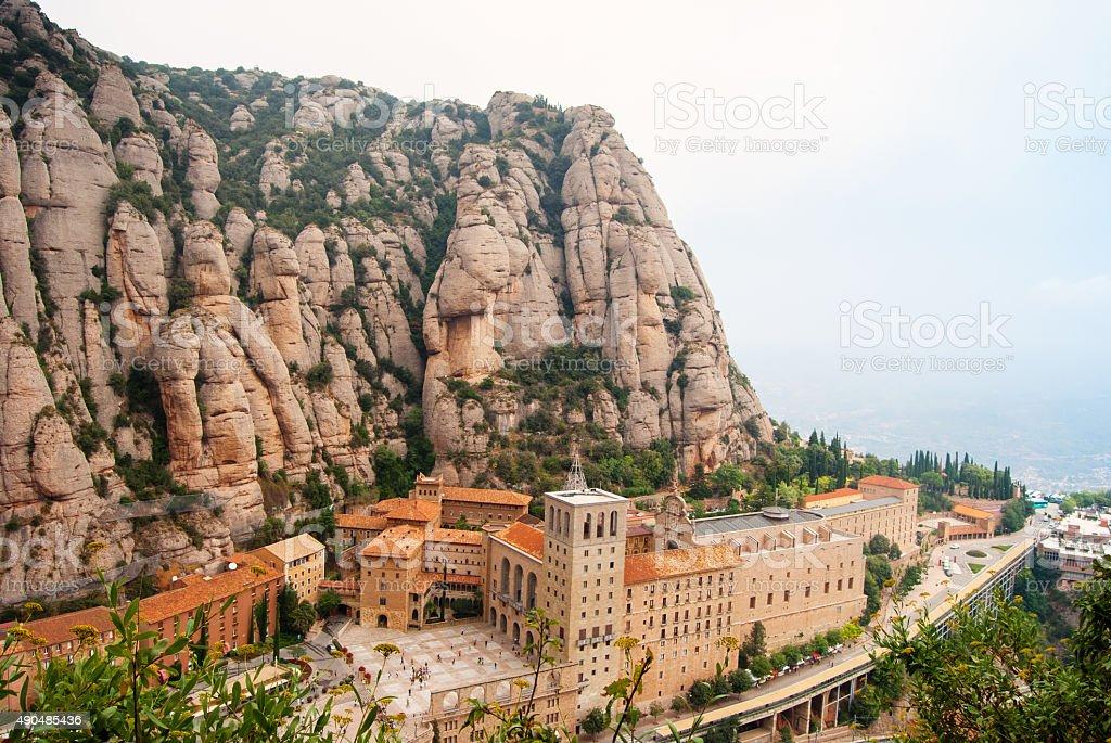 Santa Maria de Montserrat Abbey in Monistrol de Montserrat, stock photo