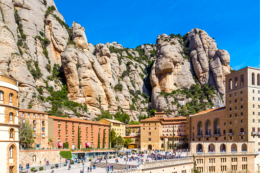 Santa Maria de Montserrat abbey in Monistrol in beautiful summer day, Catalonia, Spain