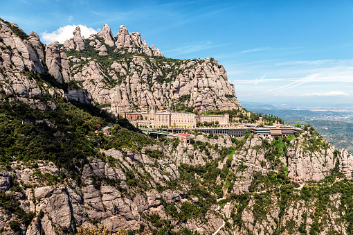 Santa Maria de Montserrat abbey in Montserrat mountains near Barcelona, Spain