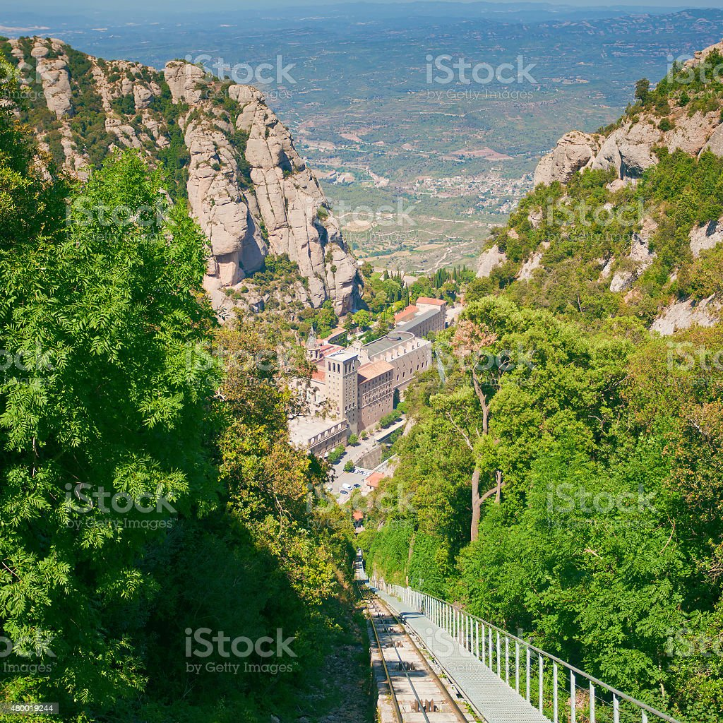 Santa Maria de Montserrat Abbey stock photo