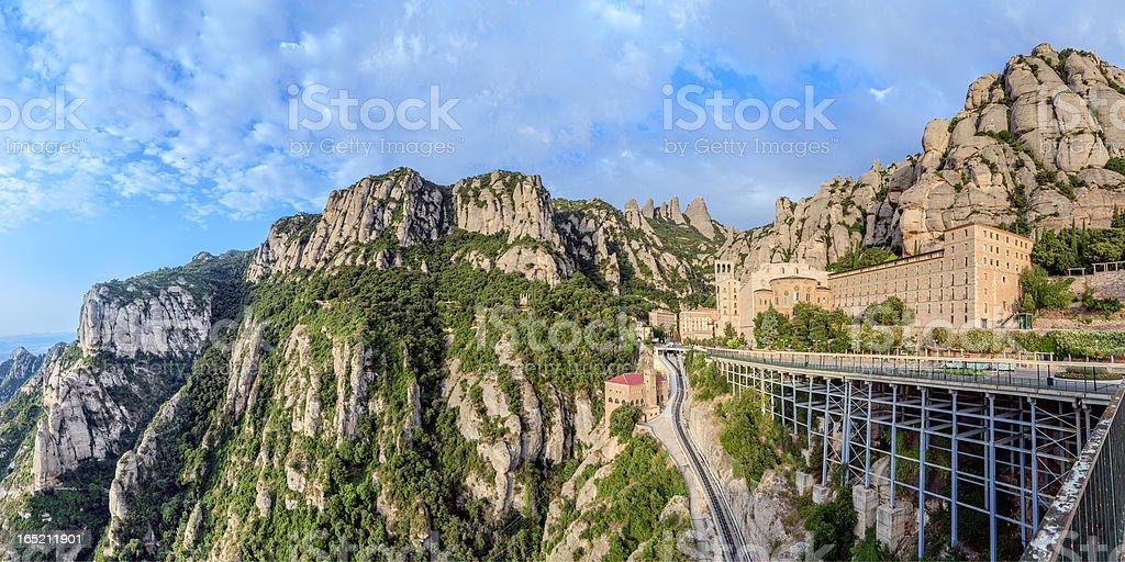 Santa Maria de Montserrat monastery, Catalonia, Spain. Panoramic of 50Mpx stock photo