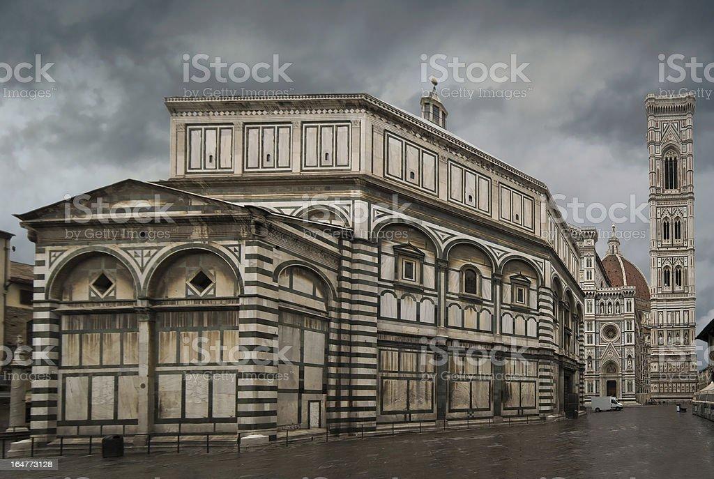 Santa Maria Del Fiore and Baptistry of St. John Florence stock photo