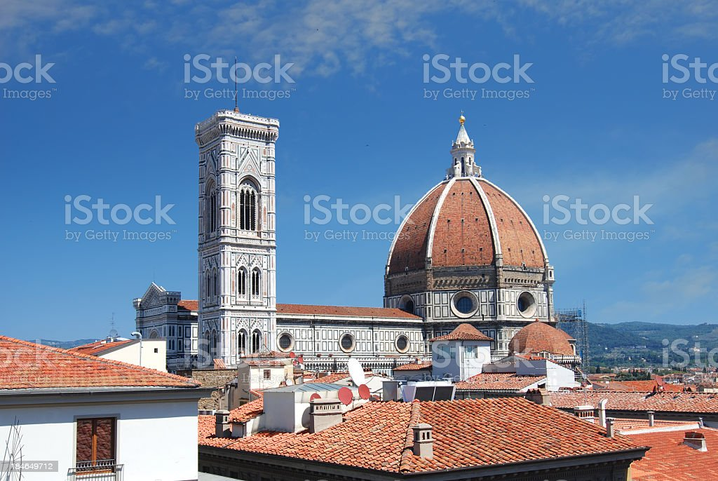 Santa Maria del Fiore and Giotto tower in Florence stock photo