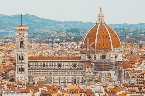 Santa Maria Del Fiore. Panorama. Italy, Florence. The concept of tourism, travel, leisure. Mixed media