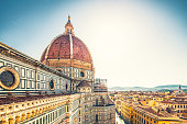 View on cityscape and the dome of the Cathedral of Florence.
