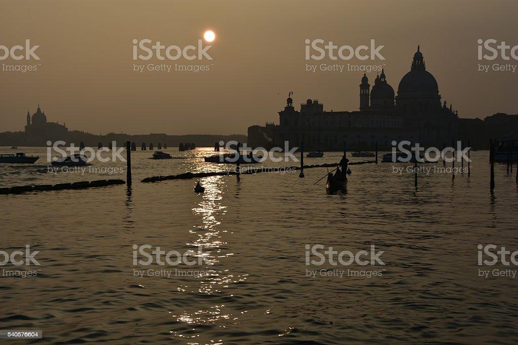 Santa Maria della Salute at dusk, Venice stock photo