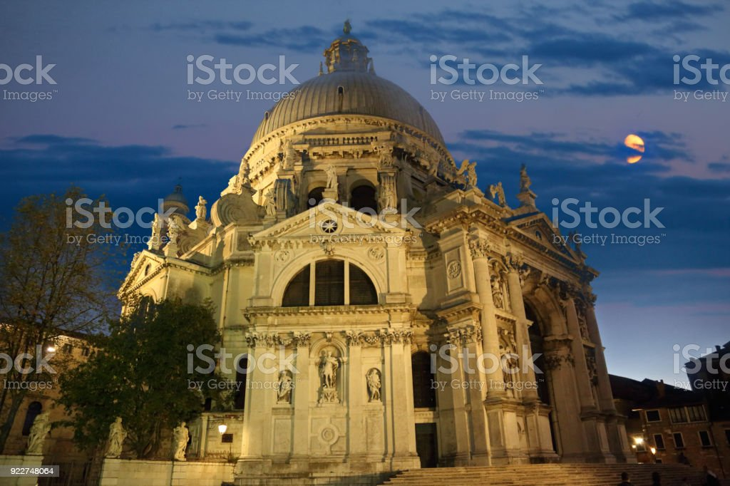 Santa Maria della Salute Cathedral at night stock photo