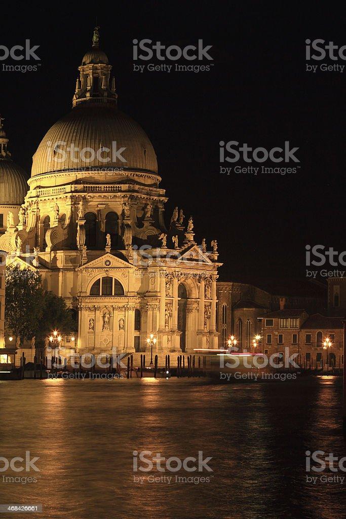 Santa Maria della salute in Venice at night royalty-free stock photo