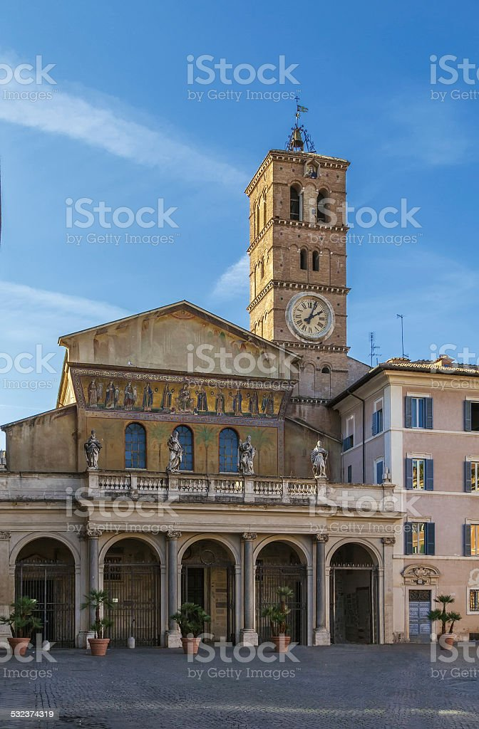 Santa Maria in Trastevere, Rome stock photo