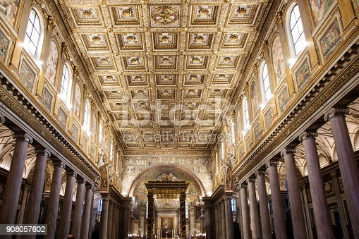 Interiors of the basilica  of Santa maria Maggiore in Rome, a Papal major basilica and the largest Catholic Marian church in Rome,