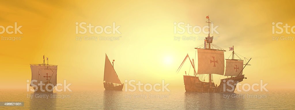 Santa Maria, Niña and Pinta of Christopher Columbus stock photo