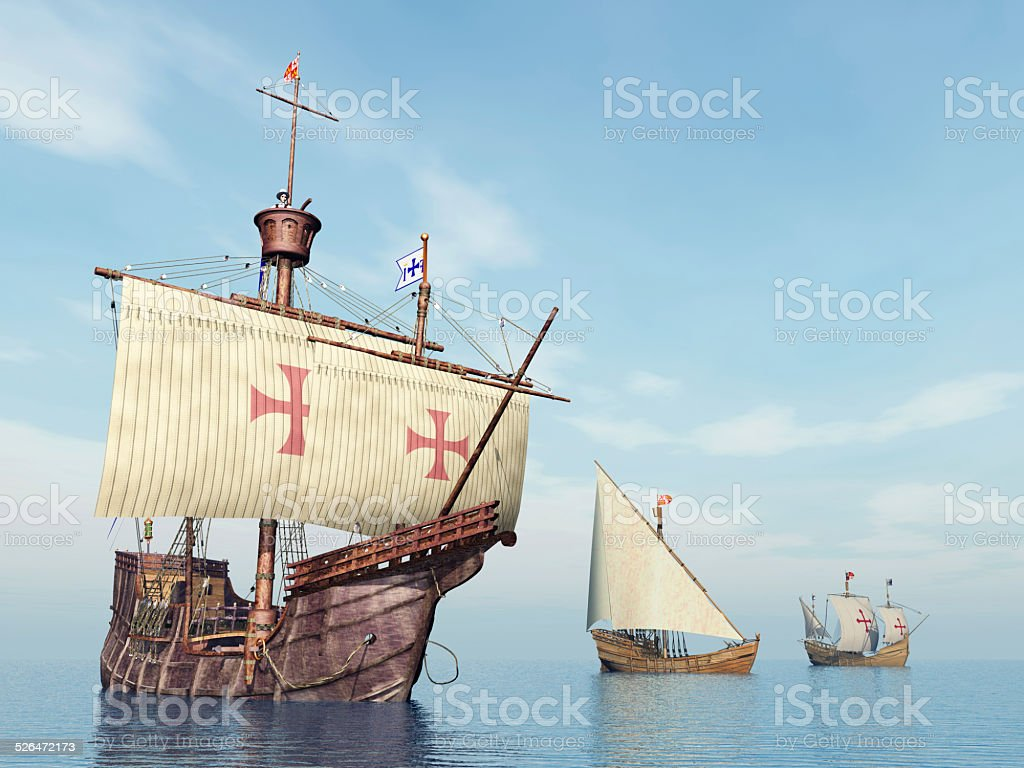 Santa Maria, Nina and Pinta of Christopher Columbus stock photo