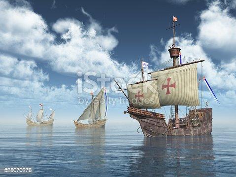 Computer generated 3D illustration with the ships Santa Maria, Nina and Pinta of Christopher Columbus