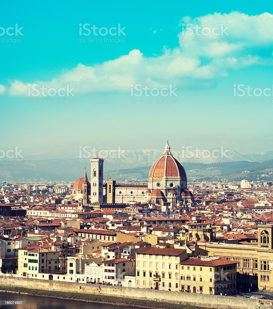 Santa maria novella dome in Florence at dusk royalty-free stock photo