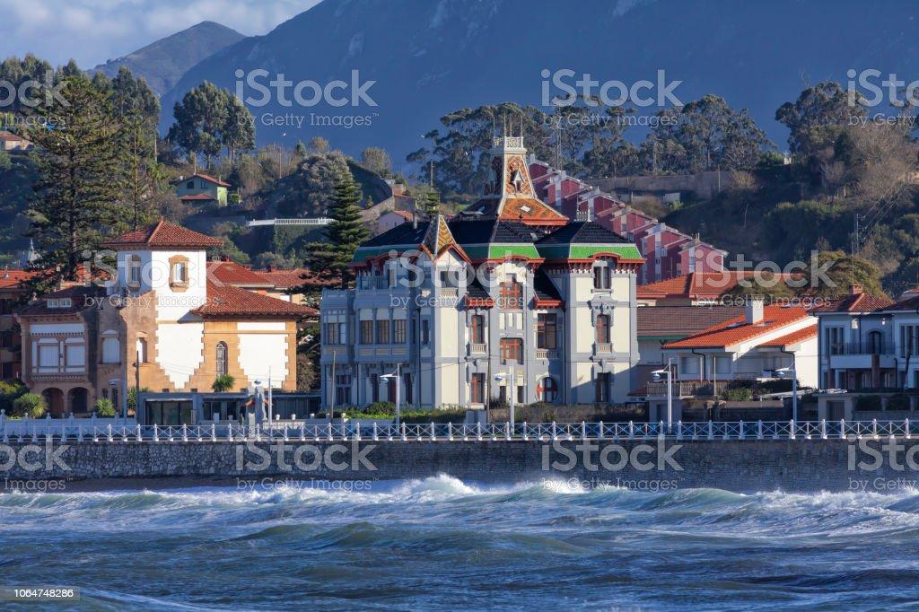 Santa Marina beach of Ribadesella in Spain Santa Marina beach of Ribadesella in Spain. Asturias Stock Photo